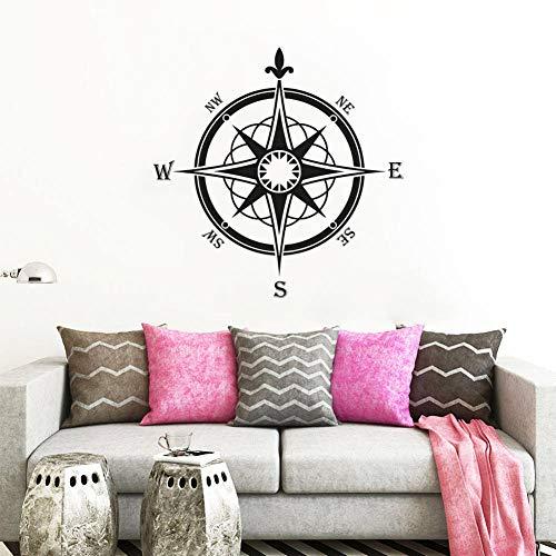 WWYJN Compass Rose Wall Decor Navigate Style Wall Decal Bathroom Ocean Decoration Nautical Compass Wall Sticker Vinyl Wall Art Black 75x75cm