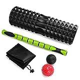 Juego de rodillos de espuma de gran tamaño 5-en-1 con bolas de masaje y bolas de masaje, rodillo de espuma de alta densidad de 18 'para terapia muscular y ejercicio de equilibrio