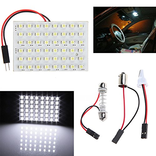 amazingdeal365 weiß Auto-Innenbeleuchtung, 48 SMD LED T10 BA9S Dome Soffittenlampe Adapter 12 V
