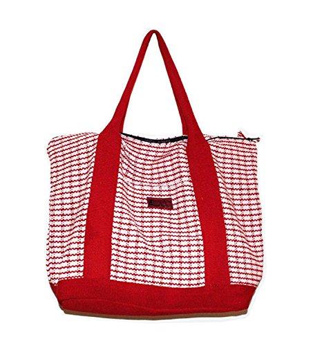 Elegante borsa a tracolla, 100% cotone, realizzato a mano, resistente e elegante Red