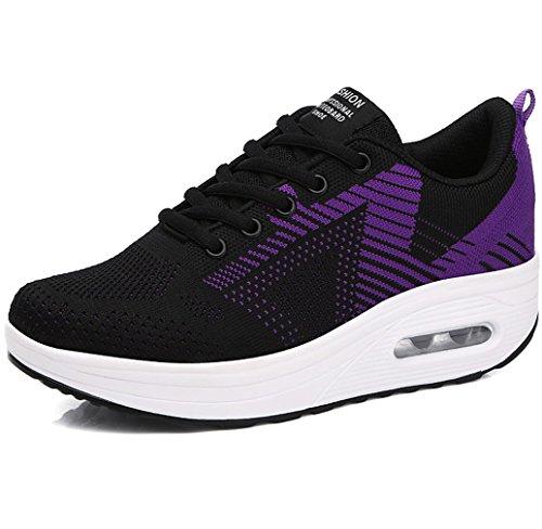 81985eb7f Zapatillas fitness con cordones y plataforma para mujeres Solshine Walkmaxx  shape-up , color Negro