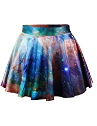 Ninimour-Fashion Damen Sommerkleid Retro Digital Print Vintage Kleid Minikleid Minidress Minirock Rock Skirt