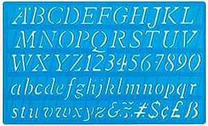 Helix - Set De Pochoirs Chiffres Lettres De L'Alphabet Majuscules Minuscules Italique 20mm