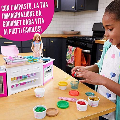 Sottocosto Barbie Cucina da Sogno con Bambola, 5 Aree di Gioco, Pasta  Modellabile, Luci e Suoni, per Bambini 4+ Anni, FRH73