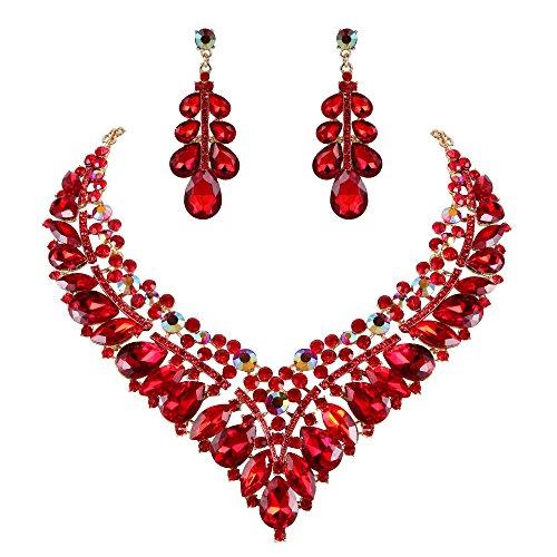 Clearine Damen Hochzeit Braut Kristall Hollow Cluster Tropfen Statement Halskette Dangle Ohrringe Schmuck Set Rubin Rot Gold-Ton