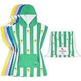 Microfibra toalla de los niños poncho con capucha (Pequeno (71cm), Verde)