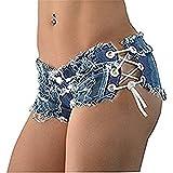 Ruiatoo Damen Jeans Hotpants Mini Shorts Zerrissene Jeansshorts Kurze Hosen Basic Used Look Destroyshorts L