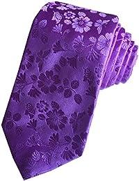 DUCHAMP London Mens 100% Silk Neck Tie Necktie Plain Floral Purple Made In England