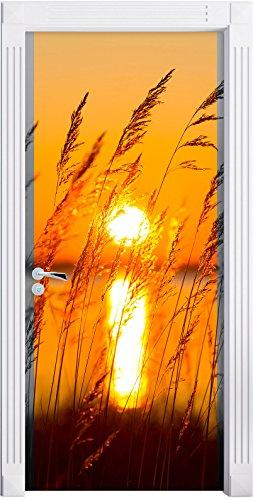 Erbe al tramonto nero / bianco murale, Formato: 200x90cm, telaio della porta, adesivi porta, porta decorazione, autoadesivi del portello