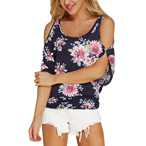 OSYARD Damen Blumen Kalt Schulter T-Shirt Rundhals Tank Casual Tops Bluse(EU 50/XL, Marine)