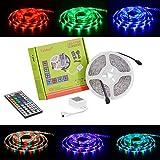 Tabker LED Streifen Set mit RGB Farbwechsel 5M/16.4 Ft SMD 3528 300LEDs IP65 Wasserdicht mit 44 Tasten IR Fernbedienung-