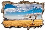 DesFoli Afrika Baum Savanne 3D Look Wandtattoo 70 x 115 cm Wanddurchbruch Wandbild Sticker Aufkleber D298
