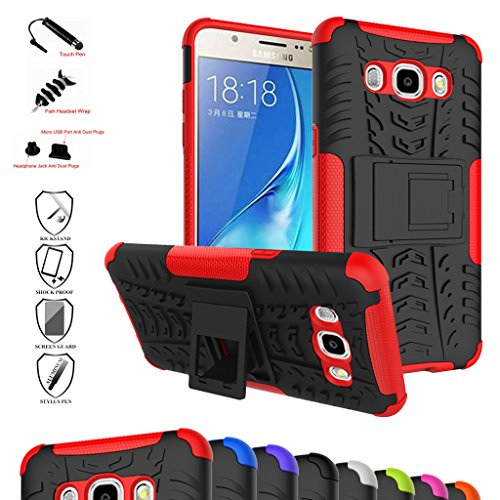 Galaxy J5 2016 Custodia, Mama Mouth Duro Shock Proof copertura Rugged Heavy Duty Antiurto in Piedi Custodia caso Case per Samsung Galaxy J5 J510 2016 Smartphone,Rosso