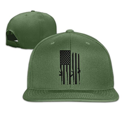 American Gun Flag Unisex Causal Fitted Flat Bill Boarder Cap For Men and Women ForestGreen (American Fitted Flag T-shirt)