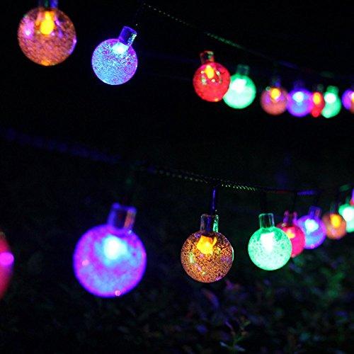Samoleus 6M 30 LEDS Solar Lichterkette, Beleuchtung Kugel Aussen Weiß, Außenlichterkette Christmas Lights Wasserdicht für Party, Weihnachten, Außen, Hausdekoration (Farbe)