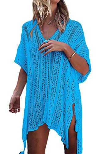 Le Donne Casuale Semplice / Collo Tagliato Fuori A Coprire Il Costume Indossare Bikini Beach Lakeblue