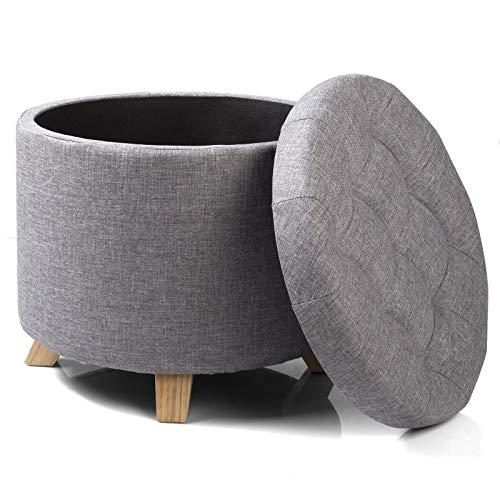 WOLTU Sitzhocker mit Stauraum Fußhocker Aufbewahrungsbox, Deckel Abnehmbar, Gepolsterte Sitzfläche aus Leinen, Massivholz, 44x41 cm, Hellgrau, SH19hgr