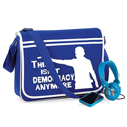 Democracy-Walking Dead-Unisex Lustige Witze Neuheit Bagbase Retro Kuriertasche Blau