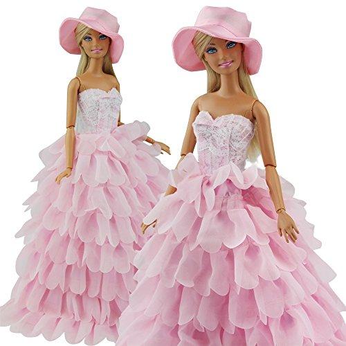 Abendkleid Prinzessin Kleidung Dress Kleider mit Hut für Barbie Puppen