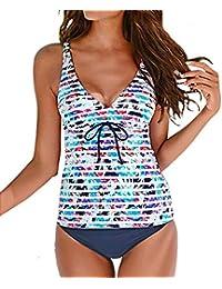 575982c9be3cd tengweng Women s Plus Size Floral Print Tankini Set Boyshort Ladies Two  Piece Bikini Swimsuit Tummy Control