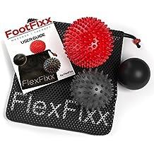 Footfix Premium Massagebälle - 3er-Pack - Fußreflexzonen-Massage & Trigger-Point-Therapie – 2 Massagebälle mit Noppen & 1 Lacrosse-Ball für tiefe Muskelmassage inkl. Benutzerhandbuch