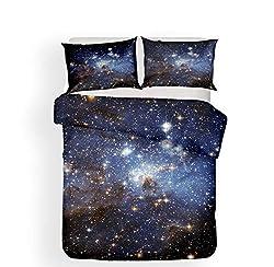 Stillshine Bettwäsche Set Galaxis Planet Meteorit Schwarzes Loch Wirbel Erde Mond Komet Blau Lila Geheimnisvoll Sternenklarer Himmel Wirbel Drucken Bettbezug und Kissenbezug (Galaxy 4,135x200 cm)