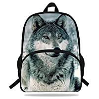 VEEWOW 16-Inch Hot Sale Animal Printed Bags Wolf Backpack for Kids Boys Girls School (D1130)