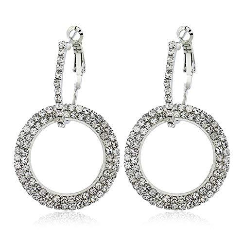 KFYU Geometrische Ohrringe Kreis voller Diamanten Ohrringe ineinandergreifenden Schmuck Silber 3454-2 (Verkaufs-diamant-ohrringe)