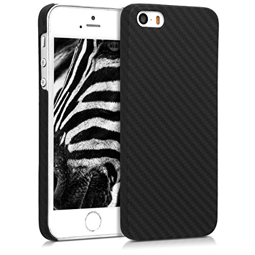 kalibri-Hlle-fr-Apple-iPhone-SE-5-5S-Handy-Schutzhlle-Backcover-Aramid-Cover-Schwarz-Matt