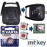 OPEL Repair Reparatur Satz Auto Schlüssel Austausch Gehäuse mit 2 Tasten + Drucktaster + Batterie für Opel Astra G Zafira A Omega B Vetra B 2 Tasten
