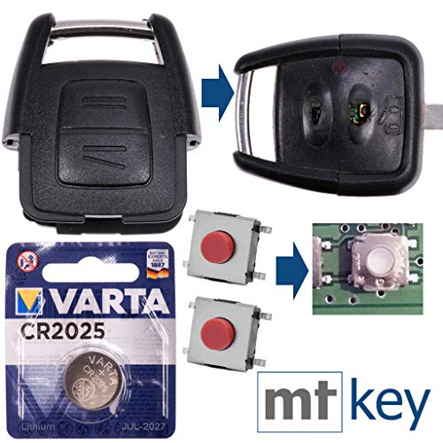 r Satz Auto Schlüssel Austausch Gehäuse mit 2 Tasten + Drucktaster + Batterie für Opel Astra G Zafira A Omega B Vetra B 2 Tasten ()