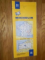 carte routière michelin n°51 BOULOGNE - LILLE