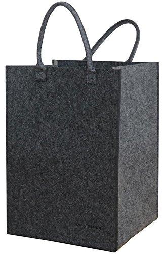 dunedesign 100L Filz Wäschesammler 43x38x60cm XXL Universal-Filz-Tasche Faltbarer Wäschekorb Großer Spielzeug-Korb Grau (Sammler Große)