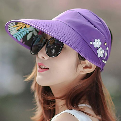 HWTYM Sun Hat Summer Women's Beach Travel Wide Brim Protection UV Casque de soleil extérieur Personnalité de loisirs Chapeau de soleil Chapeau de soleil de randonnée ( Couleur : 13* ) 4*