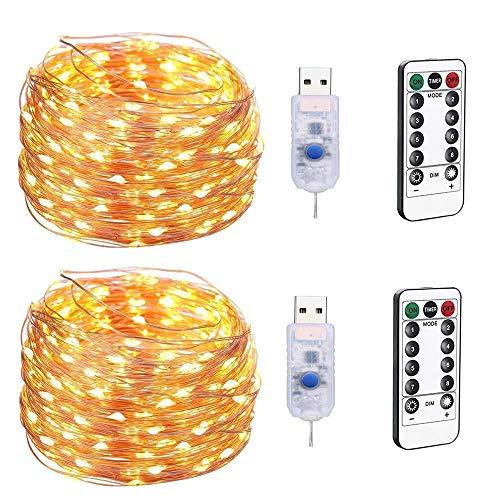 GHF LED-Lichterkette USB-Steckdose Lichterkette Mit Fernbedienung, Dimmbare 100LED-Kupferlinien Mit 8 Modi, Weihnachten, Schlafzimmerparty, Hochzeitsdekoration (2 Packungen),Warmwhite