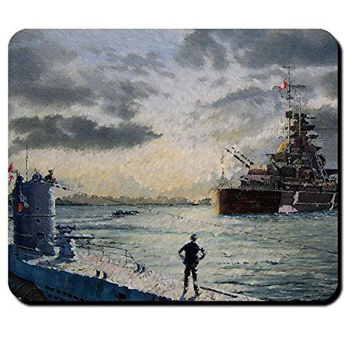 Bismarck Schiff Schlachtschiff deutsche Marine U 47 U-Boot Unterseeboot WK 2 Aquarell Zeichnung -...