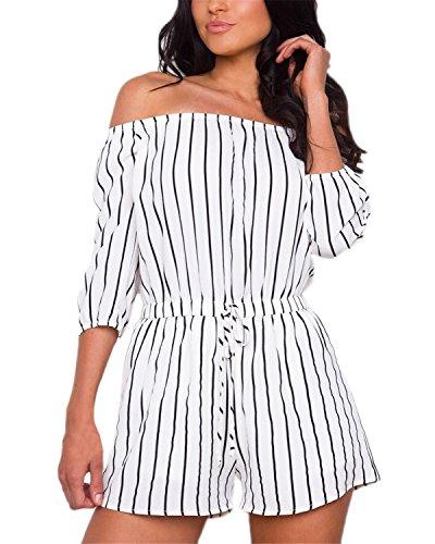 Auxo Damen Schulterfrei 3/4 Ärmel Jumpsuit Elegant Kurz Party Playsuit Streifen Overall Weiß EU 44/Etikettgröße XL -