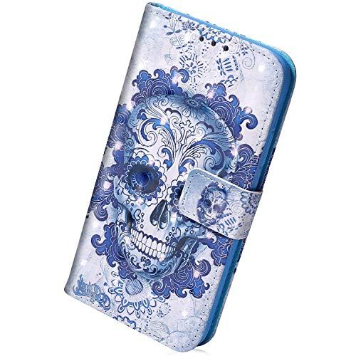 Herbests Kompatibel mit iPhone 11 Pro Max Handyhülle Leder Hülle Bunt Glänzend Glitzer Muster Klapphülle Flip Case Brieftasche Kartenfächer Schutzhülle Magnetverschluss,Schädel