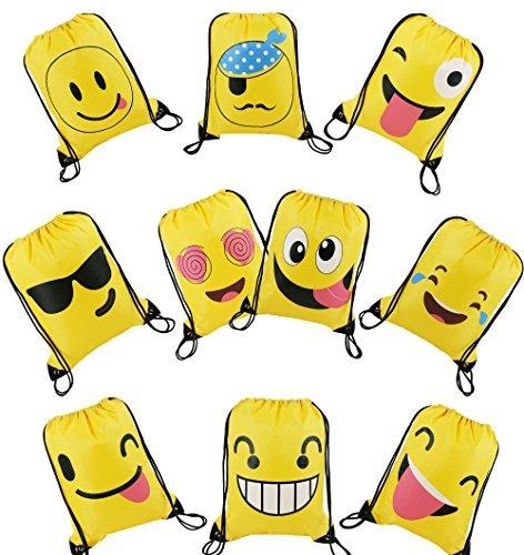 Cute Kordelzug Emoji Cartoon Rucksack für Kinder Mädchen und Jungen 10Stück, Geschenk behandeln Goody Geburtstag Party Favor Taschen