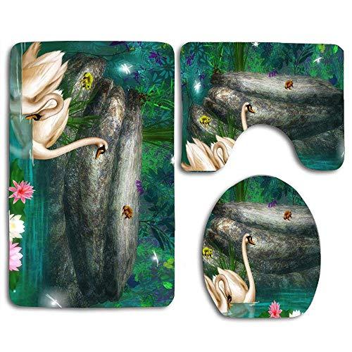 Zengyan Bathroom Rugs Set 3 Piece Bath Mats Set - Shower Liner, Soft Anti-Slip Shower Bath Rugs, Decor Bath Mat (Forest Park) - 2 Stück Schokolade Vinyl