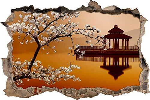 Pixxprint 3D_WD_S2245_92x62 wundervoller Kirschbaum an Japanischem See Wanddurchbruch 3D Wandtattoo, Vinyl, bunt, 92 x 62 x 0,02 cm