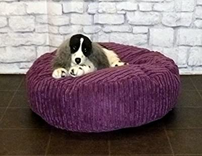 "Zippy Round Bean Bag Pet Dog Bed - 30"" diameter - Purple Jumbo Cord Fabric - Beanbags"