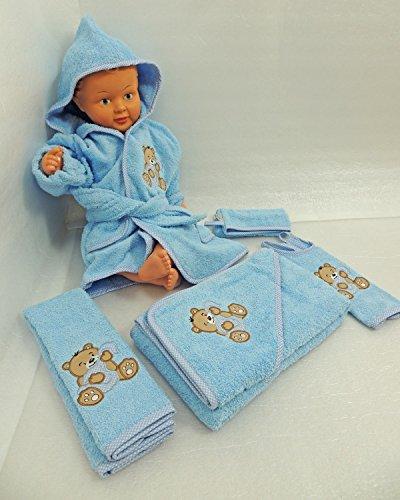 Fuchs seit 1895 Baby Frottee Set Bär Handtuch Kapuzenhandtuch Bademantel 5-TLG. 100% Baumwolle, Farbe:blau