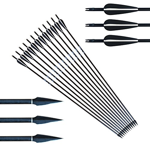 12 stücke Bogenschießen Carbon Pure Arrows Jagd 32 zoll 12 stücke Austauschbare Jagdspitzen 150 Korn Metall Recurve Bogen (Und Pfeil Bogen Mit Schießübungen)