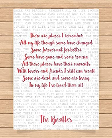 The Beatles Song Lyrics Quotes Presents Gifts For Friends Family Him Her Girlfriend Boyfriend Gift Prints Poster Home Decor Wall Art For Bedroom Living Room Kitchen