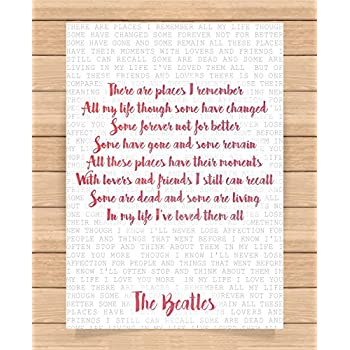 The Beatles Song Lyrics Quotes Presents Gifts For Friends Family Him Her  Girlfriend Boyfriend Gift Prints