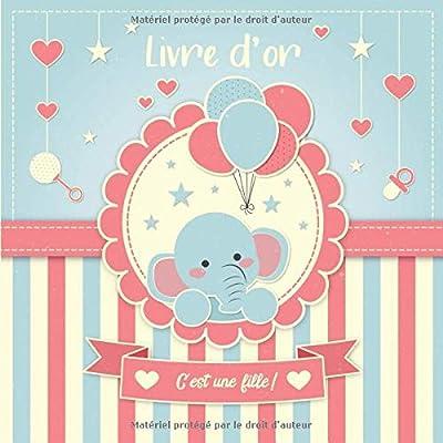 Livre d'Or: 100 Pages Format Carré - Couverture Souple Glacé - Éléphant Rose Bleu