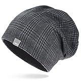 UNIQ Long Beanie Strickmütze | Damen und Herren | Slouch Mütze Oversize Unisex Atmungsaktiv Baumwolle | für das ganze Jahr | Hahnentritt Muster - grau