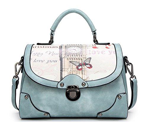 Keshi Cool Damen Handtaschen, Hobo-Bags, Schultertaschen, Beutel, Beuteltaschen, Trend-Bags, Velours, Veloursleder, Wildleder, Tasche Blau