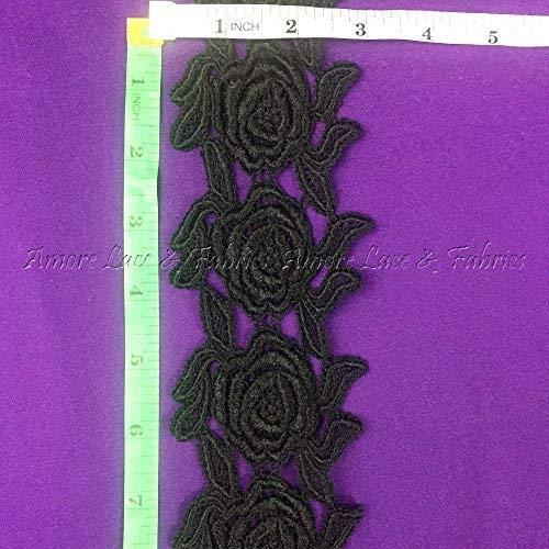 Spitzenbordüre mit Rosenmuster, symmetrisch, 7,6 cm Schwarz (Viktorianische Puppe Kostüm)
